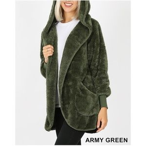 New! Green Soft Fur Sherpa Coat Bundle 2 For $49